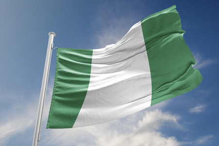Nigeria flag is waving at a beautiful and peaceful sky in day time while sun is shining. 3D Rendering