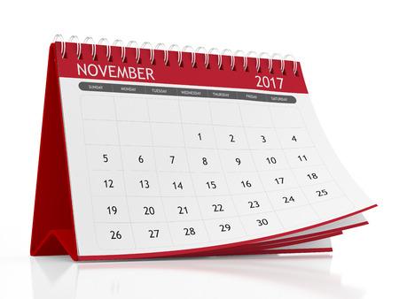 november 3d: 2017 November page of a desktop calendar on white background. 3D Rendering.