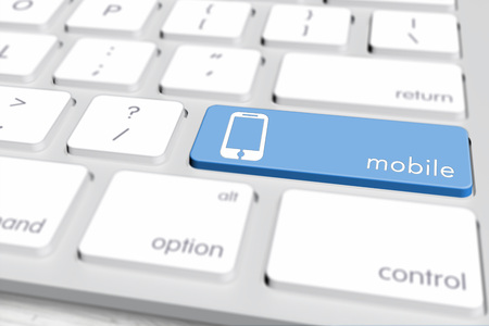 Laptop or desktop computer keyboard focus on one key with blue icon and label on it. 3d rendering.