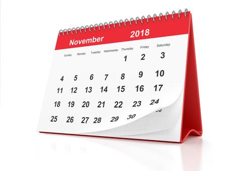 2018 년 11 월 흰색 배경에 빨간색 플라스틱 액자 데스크톱 캘린더 페이지. 3D 렌더링. 스톡 콘텐츠