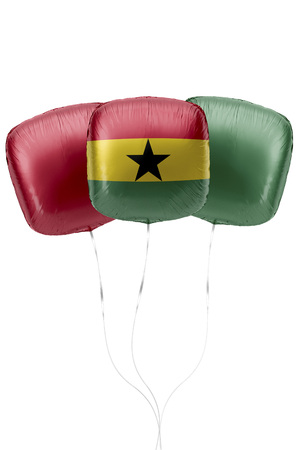 Three balloons represent Ghana flag colors are floating on a white surface with strings attached. 3D Rendering.