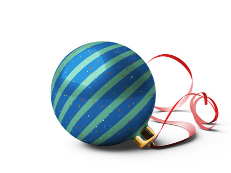 Christmas ball is on isolated white background. 3D rendering.