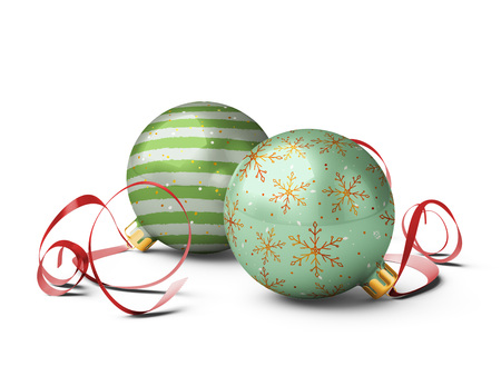 Two christmas balls are on isolated white background. 3D rendering. Stock Photo
