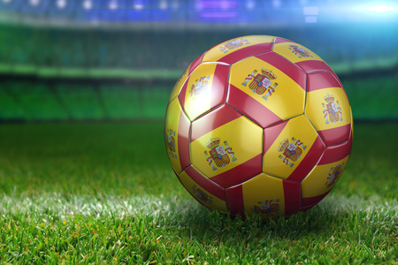 High quality render of 3D football ball at a stadium on green grasses at night. 3D rendering.