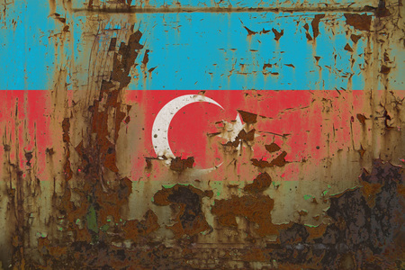 Realistic illustration of Azerbaijan flag on dirty, rusty, grunge metallic surface. 3D rendering.