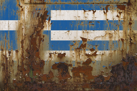Realistic illustration of Greece flag on dirty, rusty, grunge metallic surface. 3D rendering.