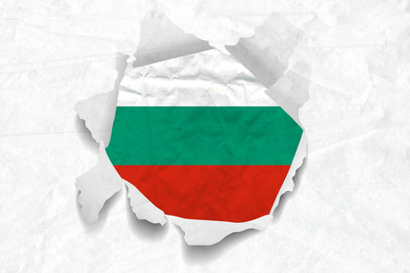 Realistic illustration of Bulgaria flag on torned, wrinkled, dirty, grunge paper. 3D rendering.