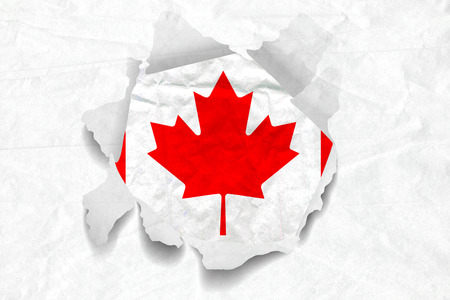 Realistic illustration of Canada flag on torned, wrinkled, dirty, grunge paper. 3D rendering.