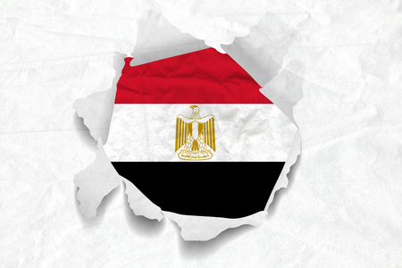 Realistic illustration of Egypt flag on torned, wrinkled, dirty, grunge paper. 3D rendering. Banco de Imagens