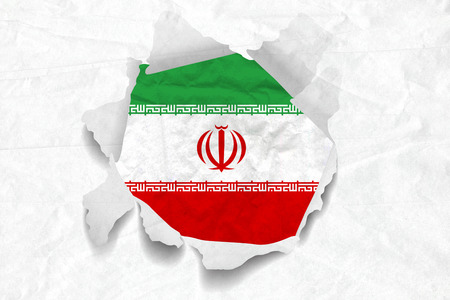 Realistic illustration of Iran flag on torned, wrinkled, dirty, grunge paper. 3D rendering. Banco de Imagens