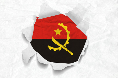 Realistic illustration of Angola flag on torned, wrinkled, dirty, grunge paper. 3D rendering.