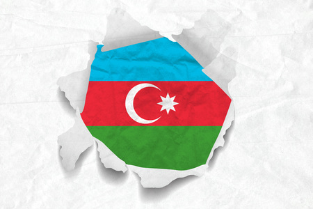 Realistic illustration of Azerbaijan flag on torned, wrinkled, dirty, grunge paper. 3D rendering.