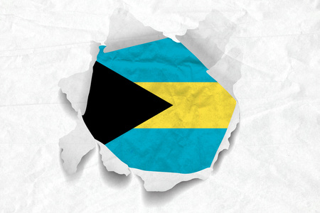 Realistic illustration of Bahamas flag on torned, wrinkled, dirty, grunge paper. 3D rendering.