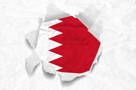 Realistic illustration of Bahrain flag on torned, wrinkled, dirty, grunge paper. 3D rendering. Banco de Imagens