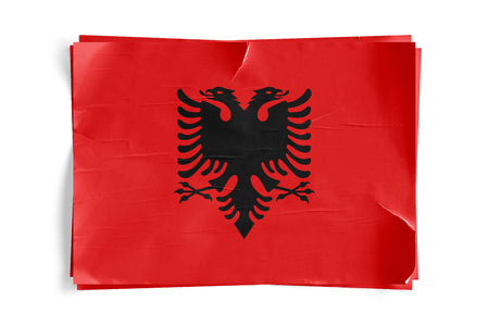 Realistic illustration of Albania flag on torned, wrinkled, dirty, grunge paper poster. Three of them on top of eachother. 3D rendering. Stock Photo