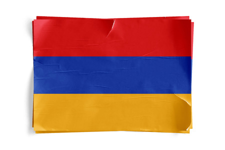Realistic illustration of Armenia flag on torned, wrinkled, dirty, grunge paper poster. Three of them on top of eachother. 3D rendering.