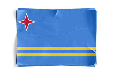 Realistic illustration of Aruba flag on torned, wrinkled, dirty, grunge paper poster. Three of them on top of eachother. 3D rendering.