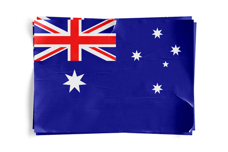 Realistic illustration of Australia flag on torned, wrinkled, dirty, grunge paper poster. Three of them on top of eachother. 3D rendering.