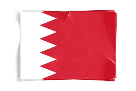 Realistic illustration of Bahrain flag on torned, wrinkled, dirty, grunge paper poster. Three of them on top of eachother. 3D rendering. Zdjęcie Seryjne