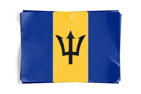 Realistic illustration of Barbados flag on torned, wrinkled, dirty, grunge paper poster. Three of them on top of eachother. 3D rendering.