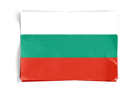 Realistic illustration of Bulgaria flag on torned, wrinkled, dirty, grunge paper poster. Three of them on top of eachother. 3D rendering.