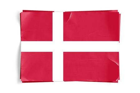 Realistic illustration of Denmark flag on torned, wrinkled, dirty, grunge paper poster. Three of them on top of eachother. 3D rendering.
