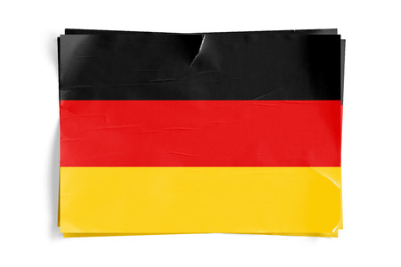 Realistic illustration of Germany flag on torned, wrinkled, dirty, grunge paper poster. Three of them on top of eachother. 3D rendering.