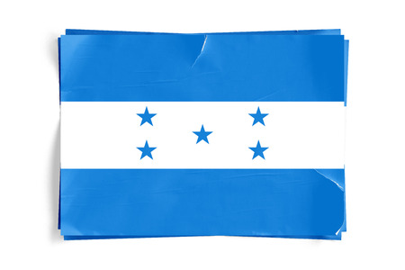 Realistic illustration of Honduras flag on torned, wrinkled, dirty, grunge paper poster. Three of them on top of eachother. 3D rendering. Banco de Imagens