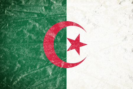 Realistic illustration of Algeria flag on torned, wrinkled, dirty, grunge paper poster. 3D rendering.