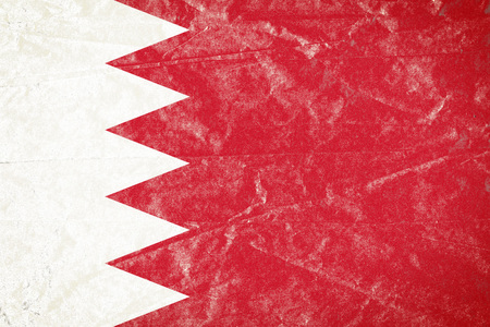 Realistic illustration of Bahrain flag on torned, wrinkled, dirty, grunge paper poster. 3D rendering.