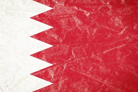 Realistic illustration of Bahrain flag on torned, wrinkled, dirty, grunge paper poster. 3D rendering. Banco de Imagens - 94778646