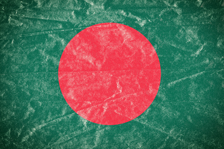 Realistic illustration of Bangladesh flag on torned, wrinkled, dirty, grunge paper poster. 3D rendering.
