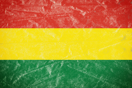 Realistic illustration of Bolivia flag on torned, wrinkled, dirty, grunge paper poster. 3D rendering.