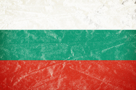 Realistic illustration of Bulgaria flag on torned, wrinkled, dirty, grunge paper poster. 3D rendering.