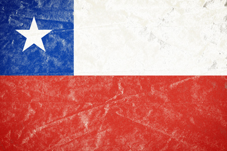 Realistic illustration of Chile flag on torned, wrinkled, dirty, grunge paper poster. 3D rendering.