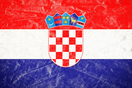 Realistic illustration of Croatia flag on torned, wrinkled, dirty, grunge paper poster. 3D rendering. Banco de Imagens