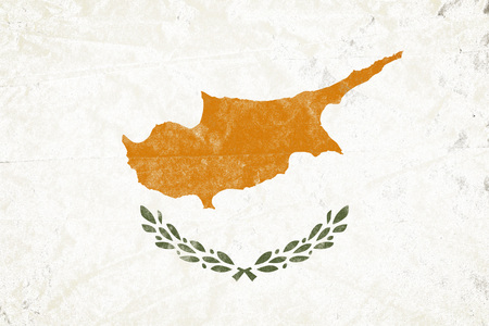 Realistic illustration of Cyprus flag on torned, wrinkled, dirty, grunge paper poster. 3D rendering.