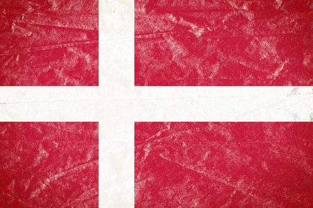 Realistic illustration of Denmark flag on torned, wrinkled, dirty, grunge paper poster. 3D rendering.