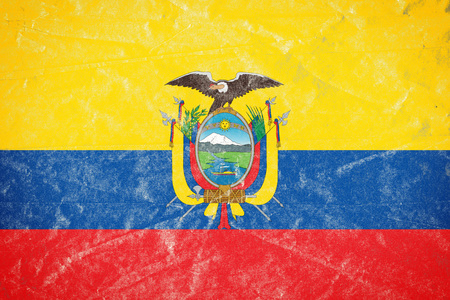 Realistic illustration of Ecuador flag on torned, wrinkled, dirty, grunge paper poster. 3D rendering.