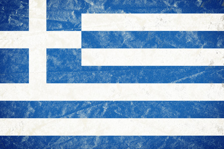 Realistic illustration of Greece flag on torned, wrinkled, dirty, grunge paper poster. 3D rendering. Banco de Imagens