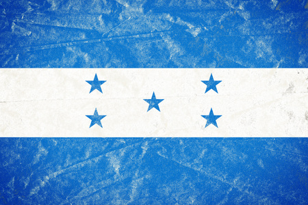 Realistic illustration of Honduras flag on torned, wrinkled, dirty, grunge paper poster. 3D rendering. Banco de Imagens