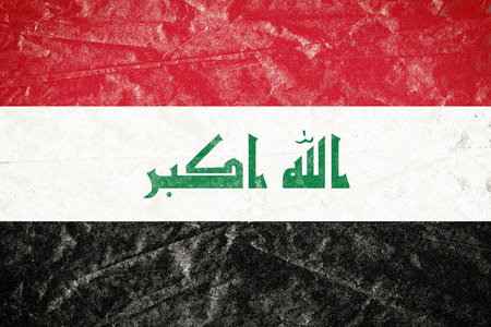 Realistic illustration of Iraq flag on torned, wrinkled, dirty, grunge paper poster. 3D rendering.