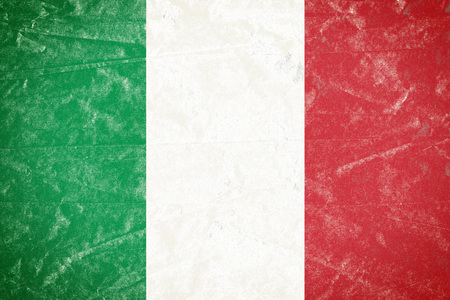 Realistic illustration of Italian flag on torned, wrinkled, dirty, grunge paper poster. 3D rendering.
