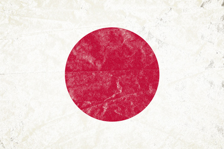 Realistic illustration of Japanese flag on torned, wrinkled, dirty, grunge paper poster. 3D rendering. Banco de Imagens
