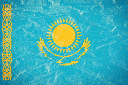 Realistic illustration of Kazakhstan flag on torned, wrinkled, dirty, grunge paper poster. 3D rendering. Banco de Imagens