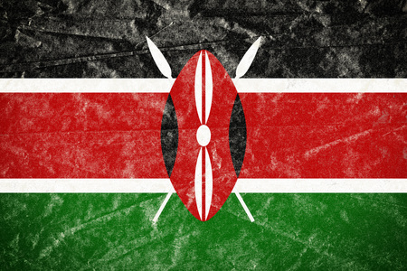 Realistic illustration of Kenya flag on torned, wrinkled, dirty, grunge paper poster. 3D rendering.