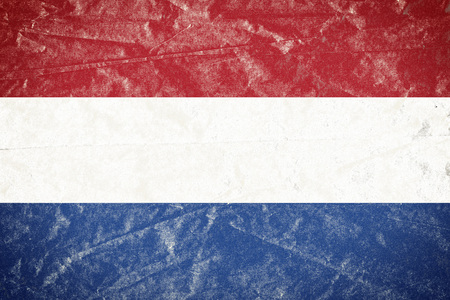 Realistic illustration of Netherlands flag on torned, wrinkled, dirty, grunge paper poster. 3D rendering.