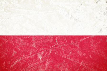 Realistic illustration of Poland flag on torned, wrinkled, dirty, grunge paper poster. 3D rendering. Stock Photo