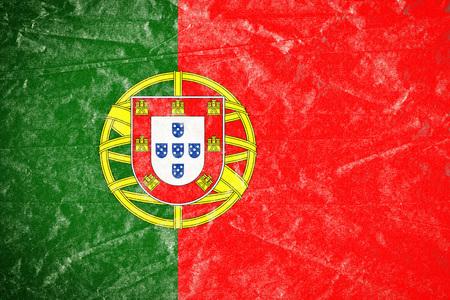 Realistic illustration of Portugal flag on torned, wrinkled, dirty, grunge paper poster. 3D rendering.