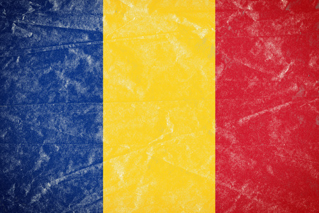 Realistic illustration of Romania flag on torned, wrinkled, dirty, grunge paper poster. 3D rendering. Stock Photo